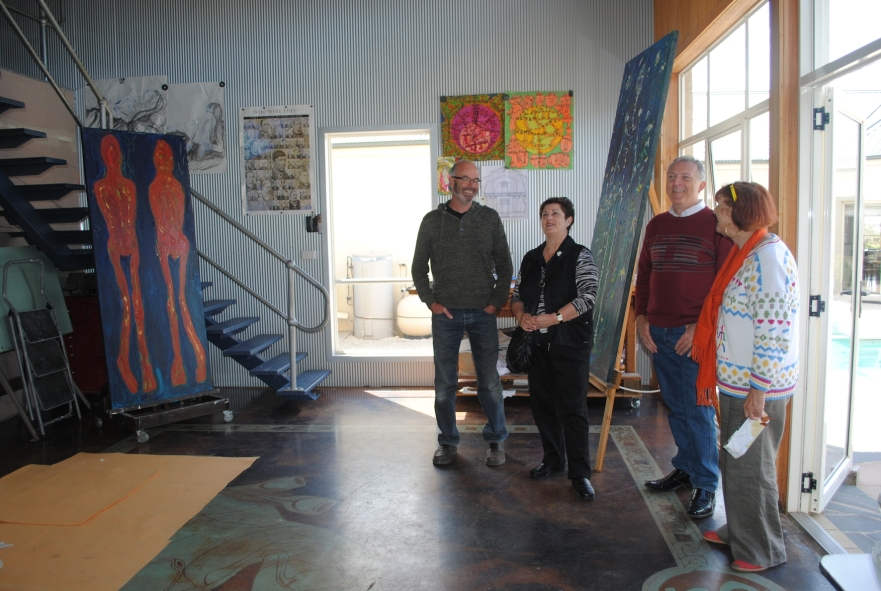 MIchael with visitors on Golden Plains Arts Trail open studio weekend, 2014