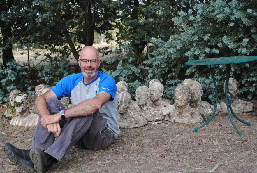 Michael with some of the Impermanent Vessels - 'Rebirth' head casts after they have been recovered from sea and taken back to @Dog Rocks after one year