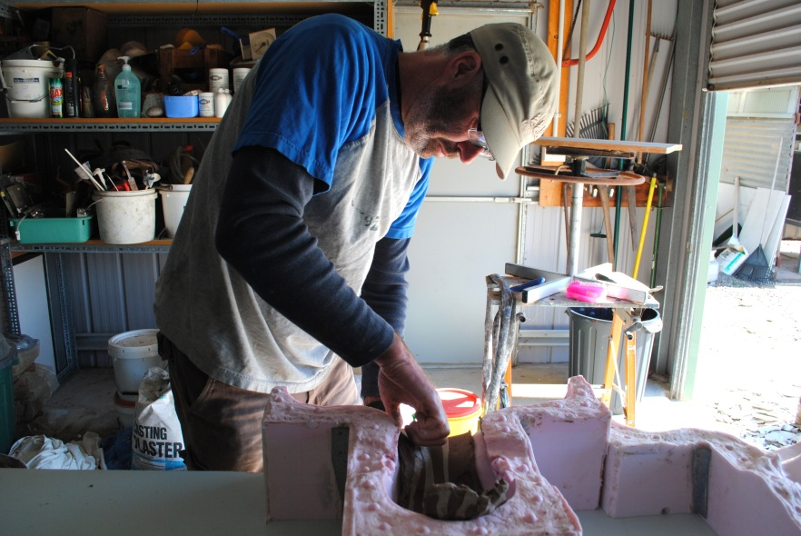 Michael using silicon mold for Impermanent Vessels - 'Rebirth' raku head casts, September 2012